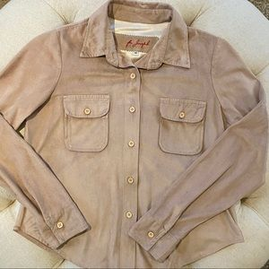 For Joseph Suede Button Down Shirt